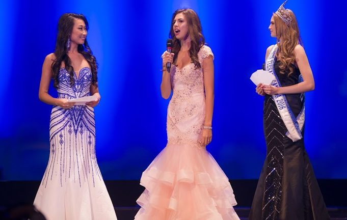 Alice Li with Emma Morrison on stage at 2017 Miss Teenage Canada