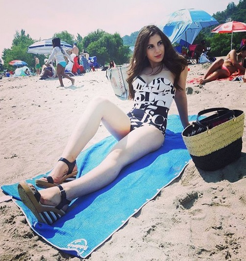 Alexia Antonio at Bluffers Beach on Snappy Towels, blue microfiber towel