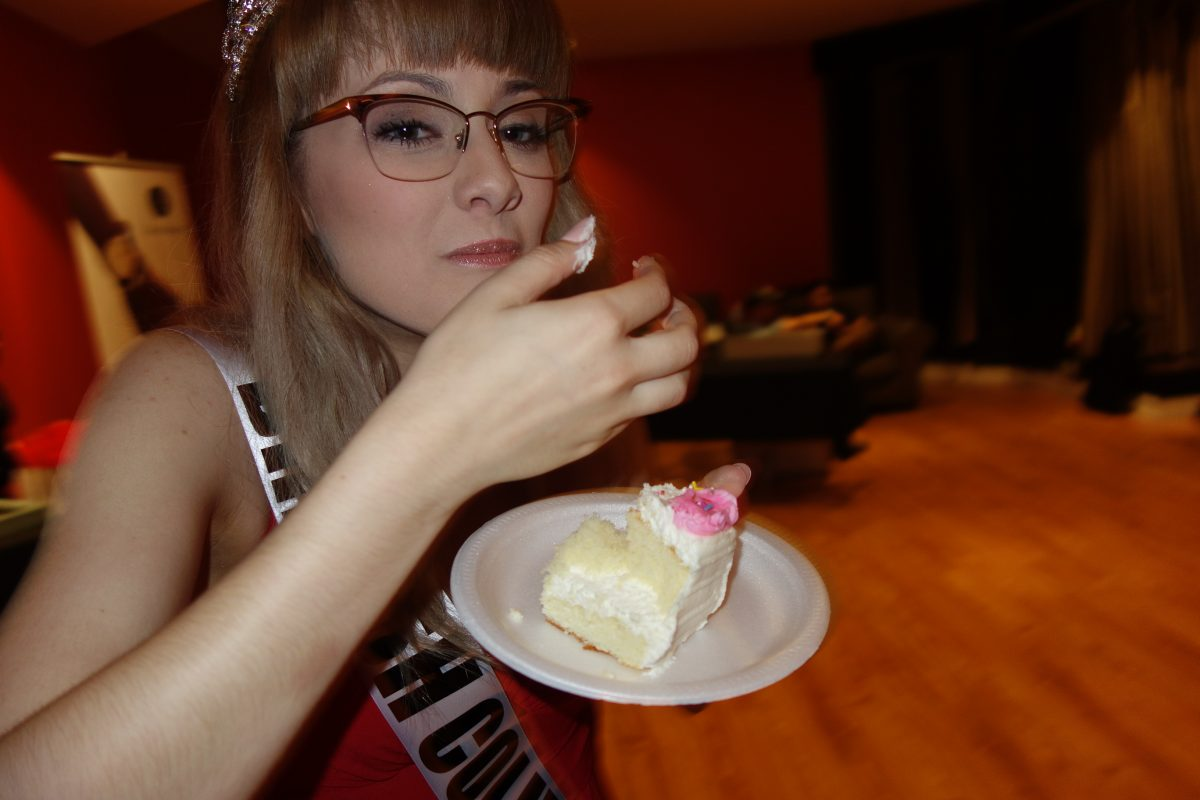 eating cake at the sponsor party